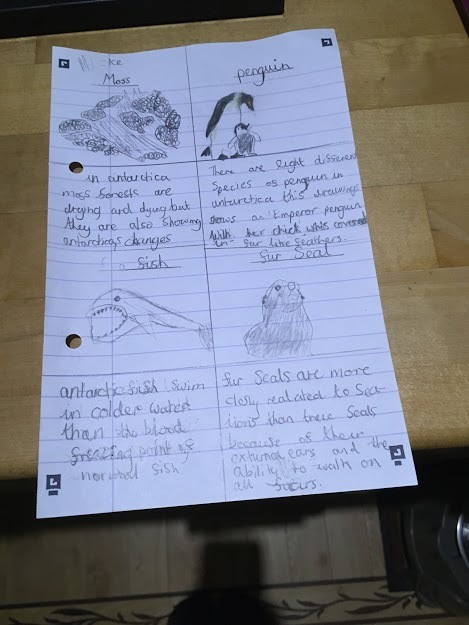 Monday Emilie's home learning